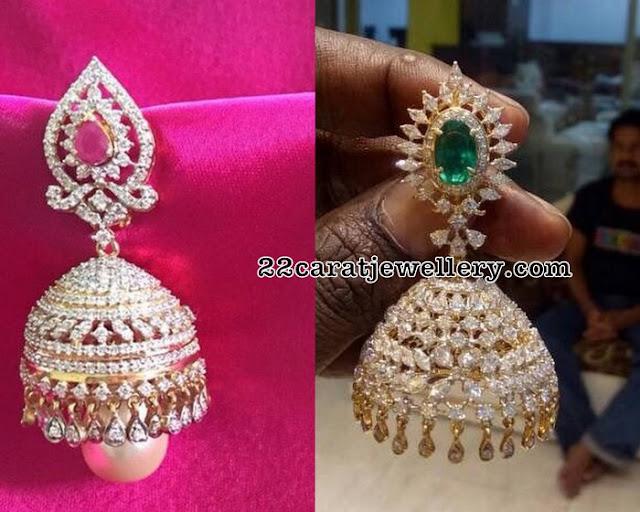 Large Size Chic Diamond Jhumkas