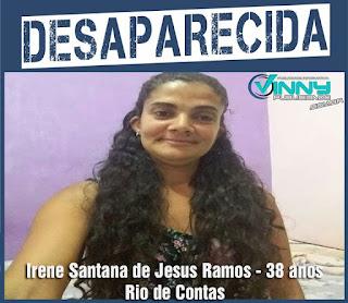 Mulher de 38 anos está desaparecida