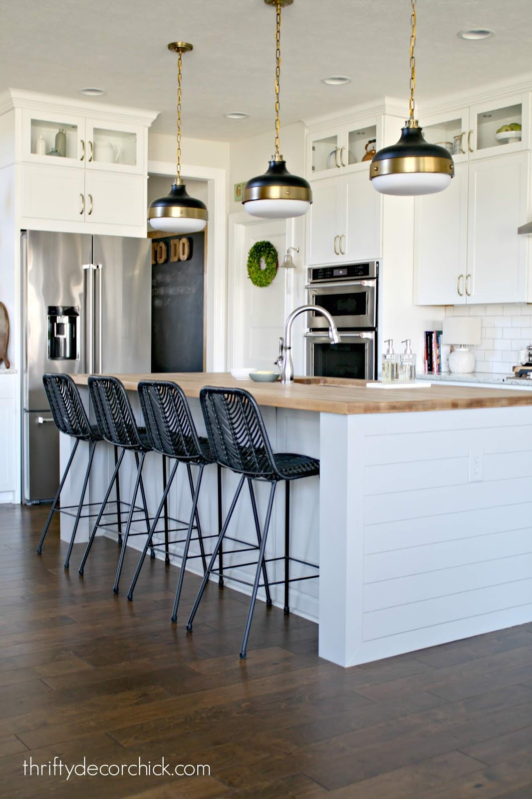 Customizing kitchen island with shiplap sides