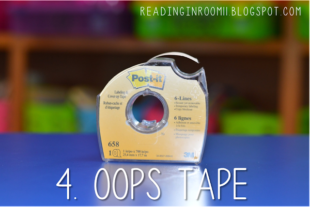 Oops tape is an essential supply for small group reading.  When you let students use pens in their group you will need a back up plan when students make a mistake. Check out the full post for more details and small group reading essentials!