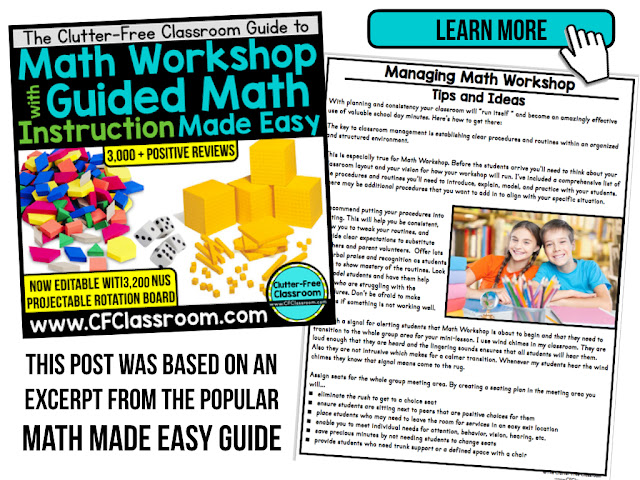 This post shares 6 Tips for Managing Math Workshop