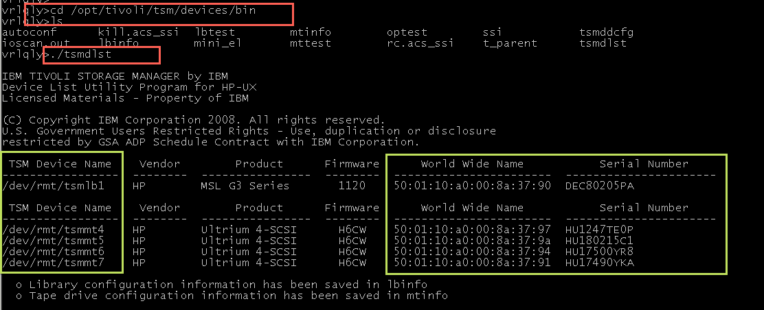 Commands for monitoring IBM TSM Server in HP-UX Operating System