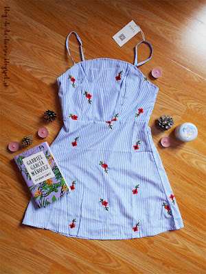 Floral Patched Striped Cami Mini Dress