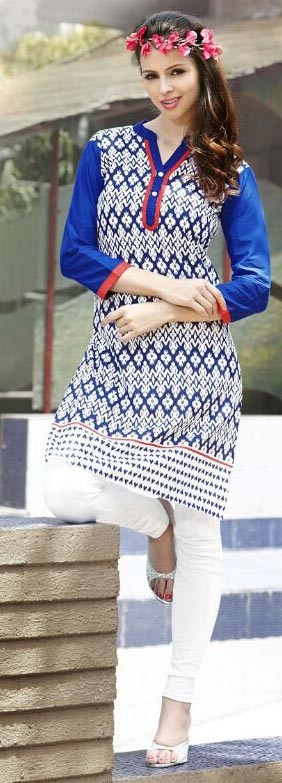 White & Blue Cotton Printed Short Kurti With Stone Work