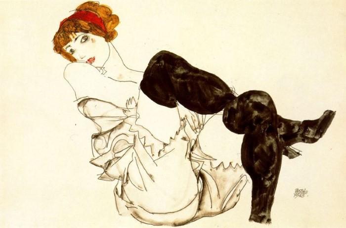 Шиле «Женщина в черных чулках»