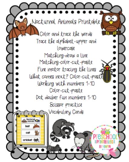 Image of: Daytime Nighttime Httpswwwteacherspayteacherscomproductnocturnalanimals3568829 Preschool Printables Nocturnal Animals Printable Preschool Printables