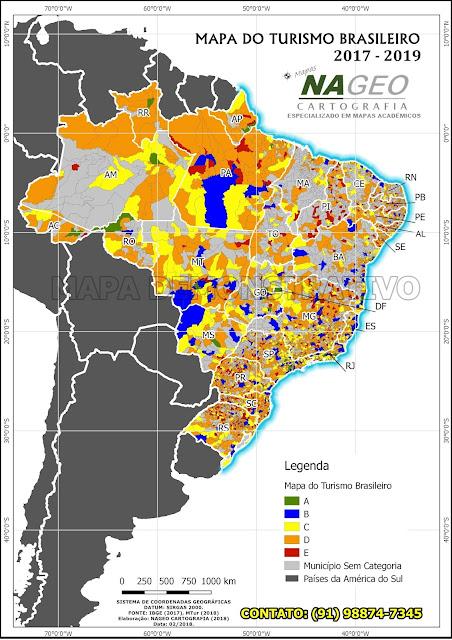 Mapa do Turismos Brasileiro NAGEO Cartografia (2018).