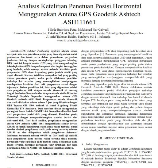Analisis Ketelitian Penetuan Posisi Horisontal Menggunakan Antena GPS Geodetik [Paper]