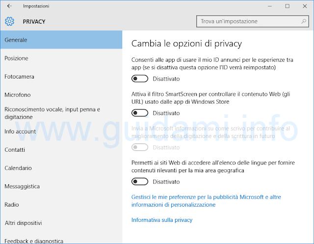 Impostazioni generali sulla Privacy Windows 10
