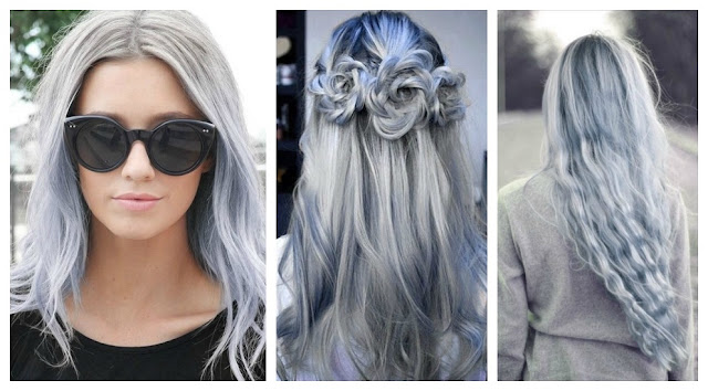 Resultado de imagem para cabelo cinza azulado