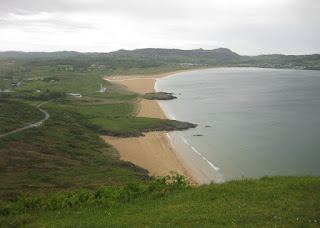 View of the road below and Ballymastocker Beach and Bay, County Donegal, Ireland
