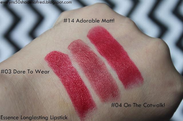 Essence Longlasting Lipstick 03 Dare To Wear 04 On The Catwalk! 14 Adorable Matt!