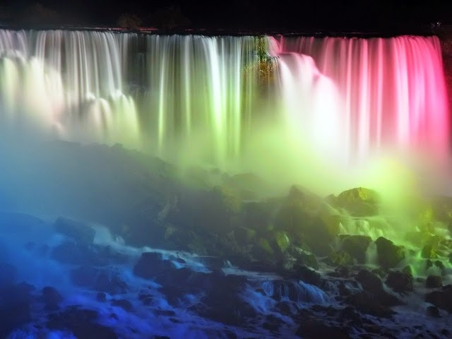 Night time at the Falls the ligh show