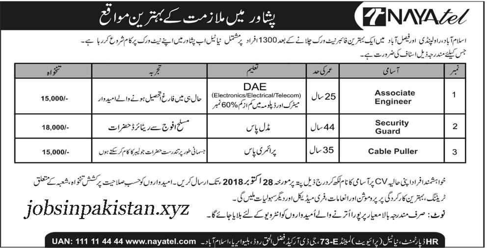 Advertisement for Nayatel Peshawar Jobs 2018