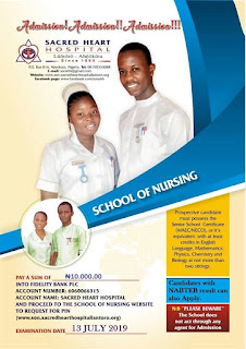 Sacred Heart Hospital Abeokuta Nursing Admission Form 2019/2020