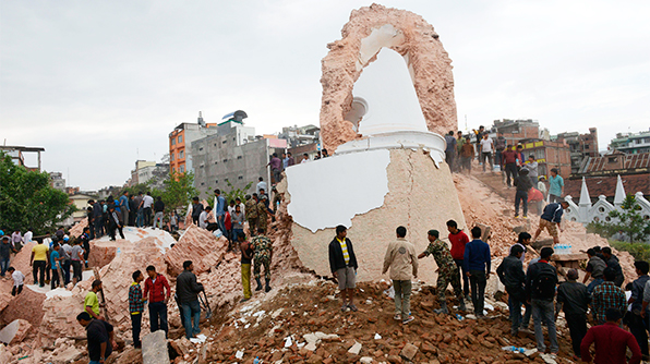 Dharahara during Earthquake in Nepal