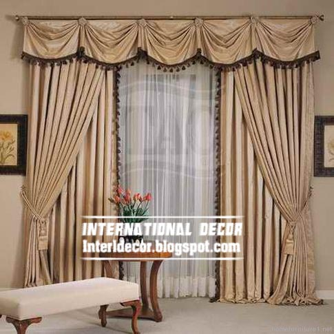 Top Curtain Model And Unique Draperies Beige For Living Room