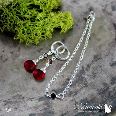 Miracolo, kolczyki z granatem, kolczyki z kwarcem turmalinowym, garnet earrings, tourmaline quartz earrings, garnet bracelet