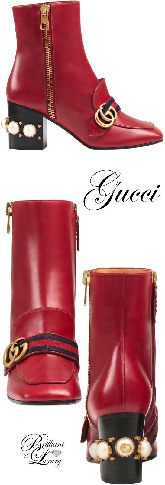 Brilliant Luxury ♦ Gucci Leather Mid-Heel Ankle Boot