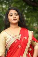 Akshara in Red Saree Golden Choli at LV Movie Makers Production No 1 Movie Opening ~  Exclusive 066.JPG
