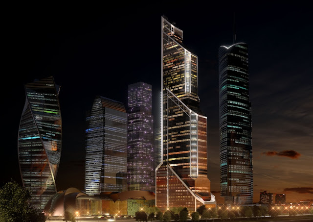 Rendering of new Moscow's skyline at night