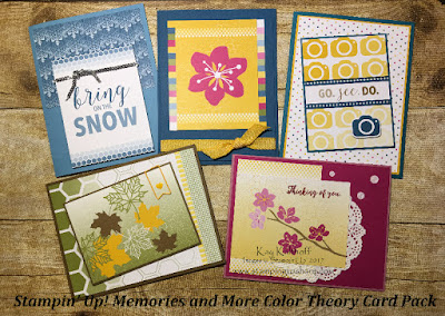Stampin' up! Memories and More Color Theory Card Pack Cards created by Kay Kalthoff with Stamping to Share.