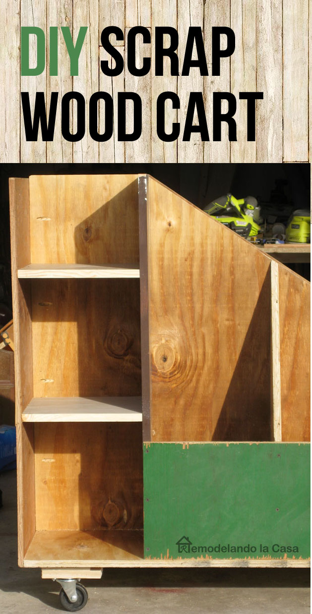 A rolling wooden cart for wood storage in the garage