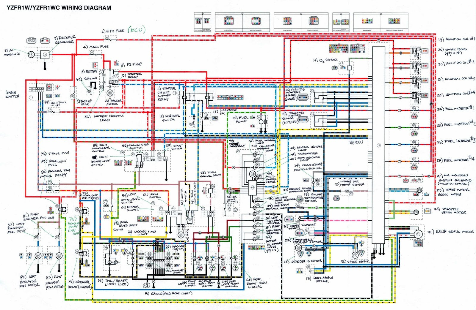 Yamaha YZFR1 Motorcycle Wiring Diagram | All about Wiring