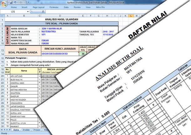 Aplikasi Analisis Butir Soal Pilihan Ganda Format Microsoft Excel untuk SD