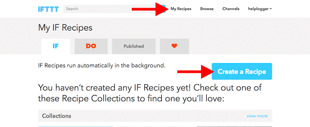 create IFTTT Blogger to the Facebook recipe