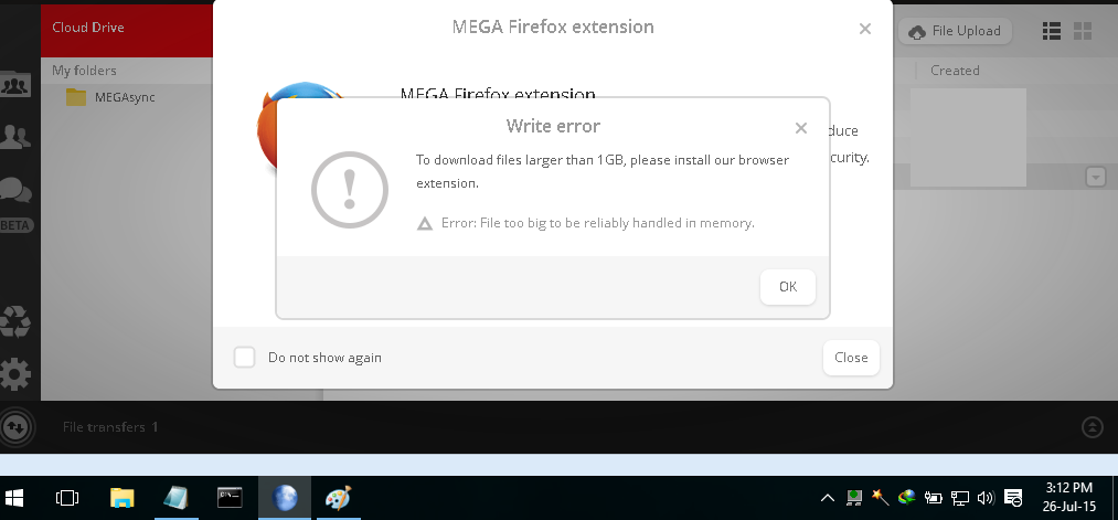 MEGA nz : To download files larger then 1 GB please install our