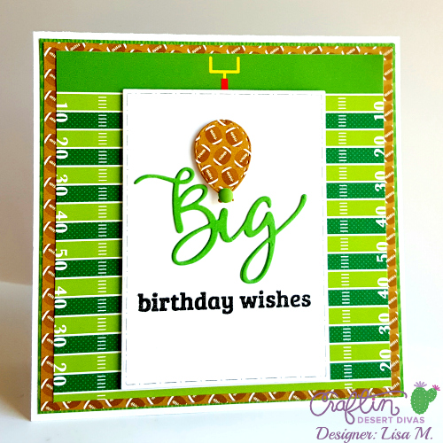 This is a picture of a Football Birthday card featuring Craftin Desert Diva products