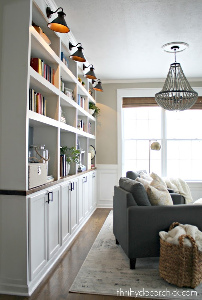 Built ins made with kitchen cabinets