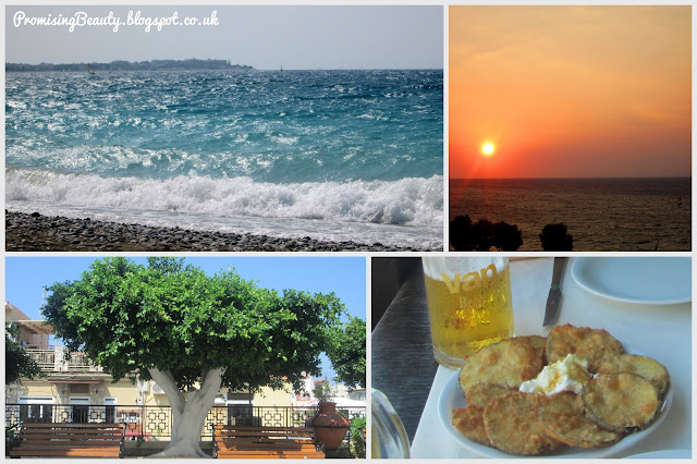 Greek islandof Rhodes, the beach, meditteranean sea, orange sunset and the white painted trees. Aubergine croquettes and european beer for lunch.