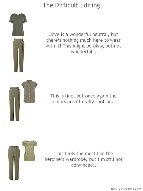 trying to build a cluster around a pair of olive pants
