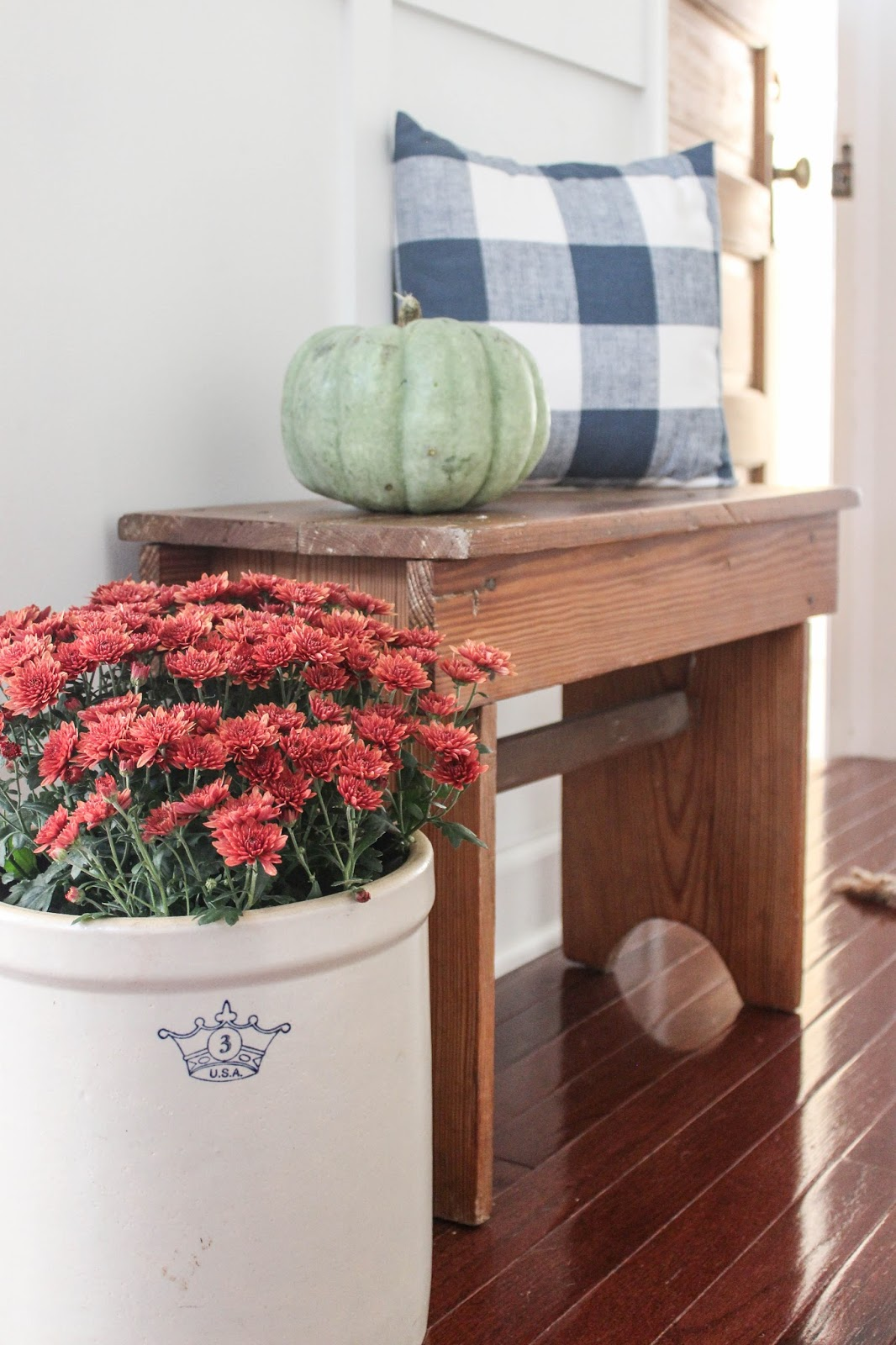 vintage crock for fall decor