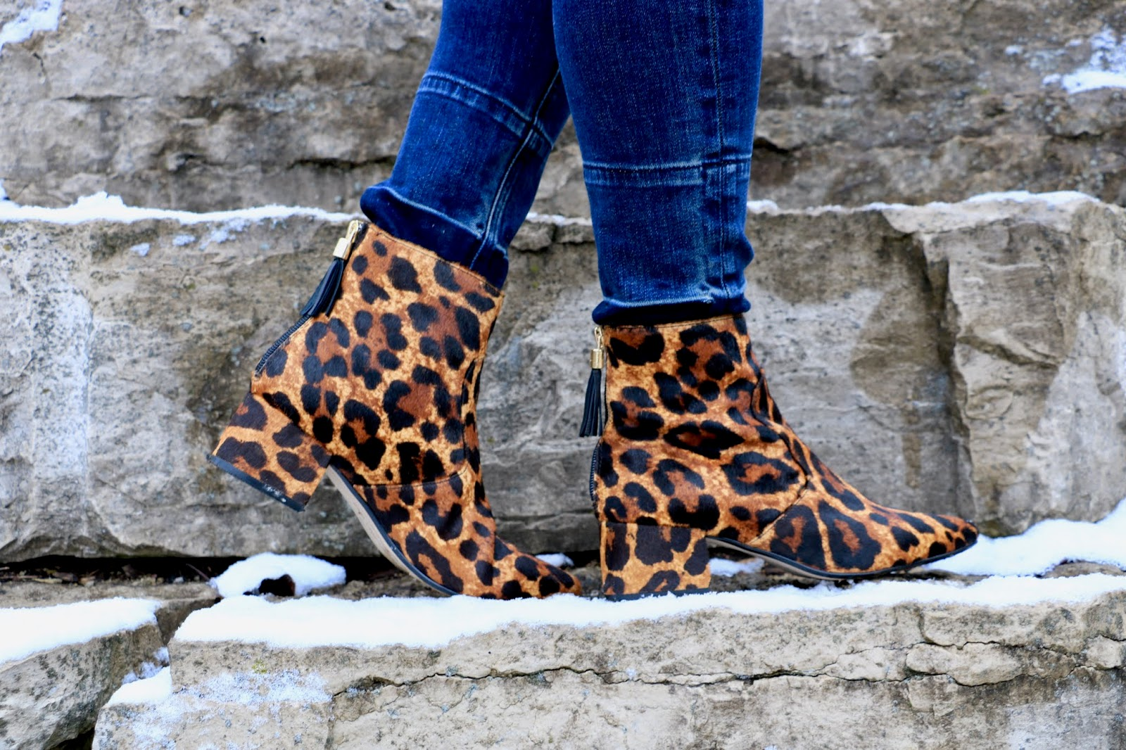 Nyc fashion blogger Kathleen Harper wearing Karl Lagerfeld leopard boots