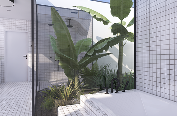 Tropical jungle atrium and recessed bathtub | Urban contemporary bathroom. Design by Eleni Psyllaki @myparadissi