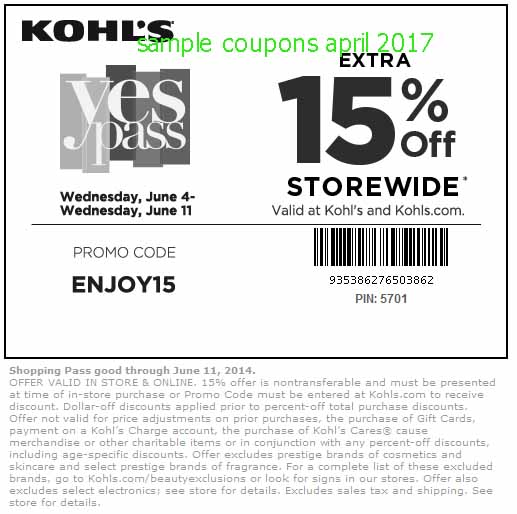 Kohls coupon code instore