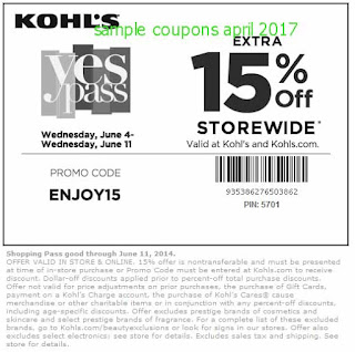 free Kohls coupons april 2017