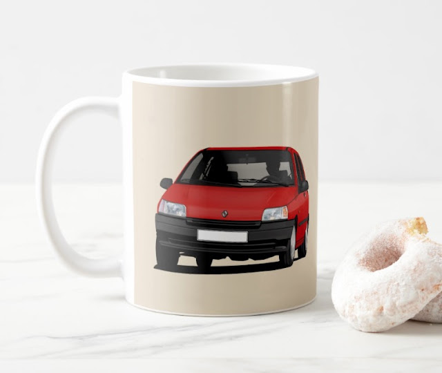 Zazzle Red Renault Clio illustration printed coffee mug