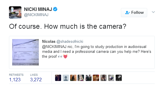 Nicki Minaj offers to pay off student loans, college fees and buy books for her fans on Twitter