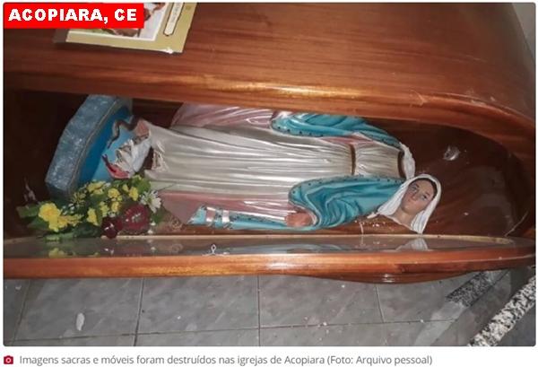 Homem surta e quebra imagens em igrejas de Acopiara,CE