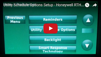 Main menu for Honeywell RTH9580WF new utility schedule feature