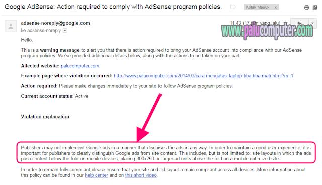 email peringatan dari adsense