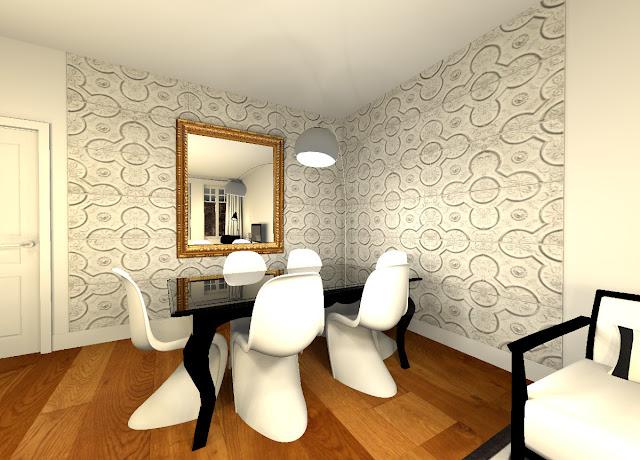 Bcc coaching deco en ligne r novation en noir et blanc for Papier peint pour salle a manger