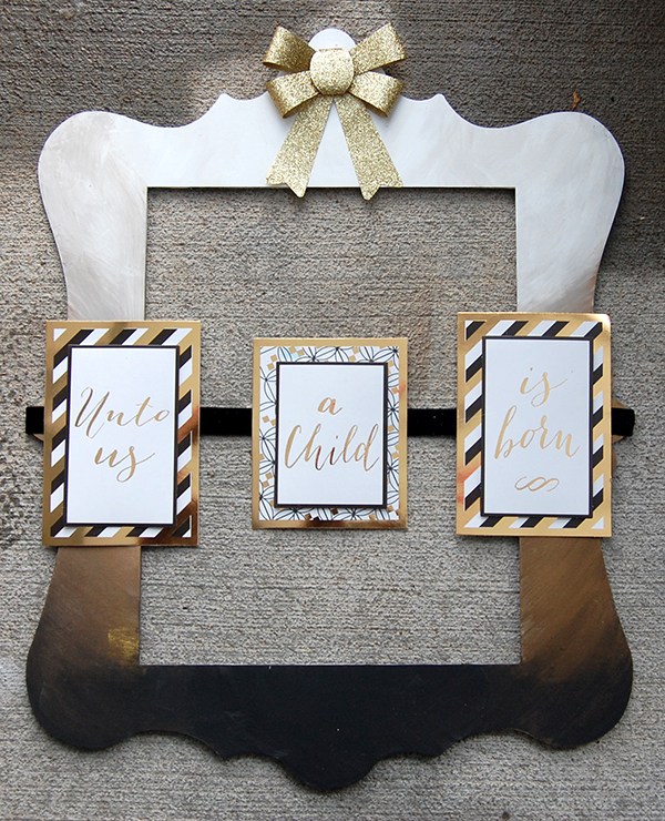 wood frame, gold ribbon, gold, black, white card design final look