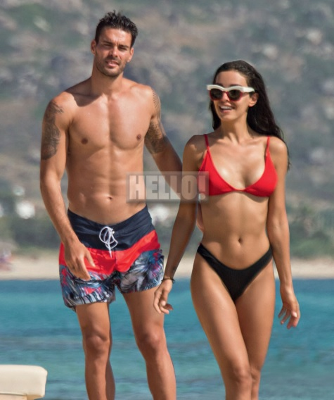 Eleni Foureira and Alberto Botia at the beach
