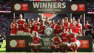 Pictures: Arsenal Celebrate Community Shield Victory Against Chelsea.