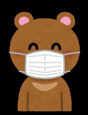 マスクを付けたクマのキャラクター